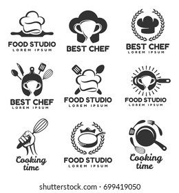 Cooking logos set. Food studio vector logo concept. Kitchen tools. Food icon. Food and Cooking logo. Restaurant vector logo template. Cafe logo. Pan icon.
