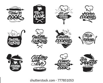 Cooking logos set. Healthy . Bon appetit.   Cook, chef, kitchen utensils icon or logo. Handwritten lettering vector illustration