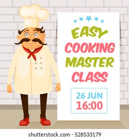 Cooking master class poster. Cooking school.