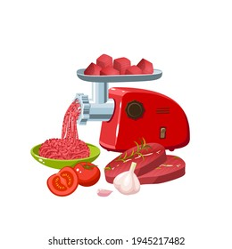 Cooking minced meat with condiment in electric meat grinder. Vector cartoon flat icon illustration isolated on white background.