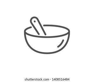Cooking mix line icon. Bowl with spoon sign. Food preparation symbol. Quality design element. Linear style cooking mix icon. Editable stroke. Vector