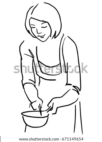Cooking Mom Vector Sketch Black White Stock Vector Royalty Free