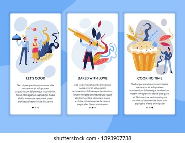 Cooking online courses chef master class web page template vector baking male and female cooks rolling pin and muffin or cupcake pastry food recipes learning Internet video lessons subscription