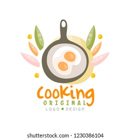 Cooking original logo design, kitchen emblem with frying pan and egg can be used for culinary class, school, studio hand drawn vector Illustration
