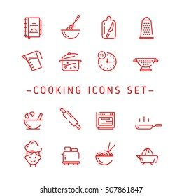 Cooking outline Icons. Outline Vector Cooking Icon. Cooking Icons Set