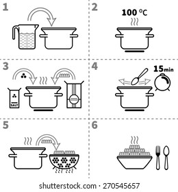 Cooking pasta infographics. Step by step recipe infographic for cooking pasta. Italian cuisine. Vector black and white illustration.