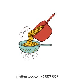 Cooking pasta - when spaghetti is cooked, drain it in colander, hand drawn vector illustration isolated on white background. Putting cooked spaghetti from pan into pasta strainer to drain water