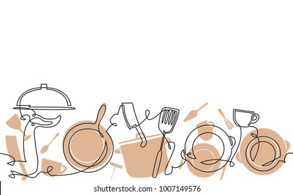 Cooking Pattern. Background with utensil. Continuous line drawing. Veector illustration.