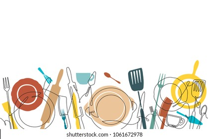 Cooking Pattern. Background with Utensils. Continuous Drawing Style. Poster with Cutlery. Template with Cookware. Vector illustration.