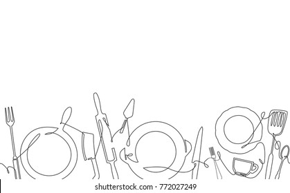 Cooking Pattern. Background with Utensils. One Line style. Outline Kitchen Cutlery. Can be used for bakery,  cafe, restaurant, bar, shop, kitchen classes, cafe, studio. Vector illustration.