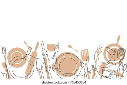 Cooking  Pattern. Background for your design works. One Line Drawing of Isolated Kitchen Utensils. Cooking  Poster. Vector illustration.