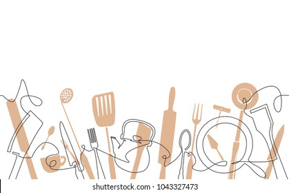 Cooking  Pattern.  Cutlery Background. One Line Drawing of Isolated Kitchen Utensils. Cooking Design Poster. Vector illustration.