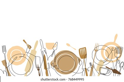 Cooking  Pattern for your design works. Cooking Background. One Line Drawing of Isolated Kitchen Utensils.  Vector illustration.