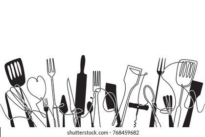 Cooking Pattern for your design works.  Cutlery Background. One Line Drawing of Isolated Kitchen Utensils. Cooking  Poster. Black and white style. Vector illustration.