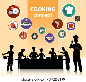 Cooking people concept with food ingredients and menu symbols shadow flat isolated vector illustration
