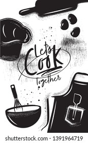 Cooking poster. Chalk and charcoal style. Apron, cook hat, rolling pin, whisk, eggs on vintage background with lettering