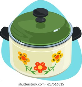 Cooking pot with green lid and black plastic knob. Isolated. On blue background.