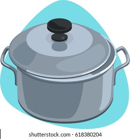 Cooking pot with handles and stainless lid with black knob. Isolated. On blue background.