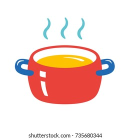 Cooking pot with hot food icon