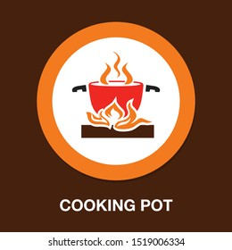 cooking pot icon- cooking food