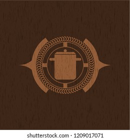 cooking pot icon inside wood signboards