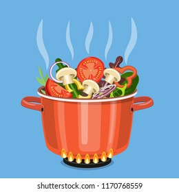 Cooking pot on stove with vegetables, mushrooms and steam. Boiling water in pan. Saucepan with tomatoes, peppers, onions, parsley. Vector illustration in flat style