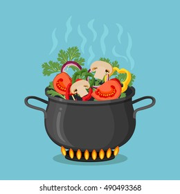 Cooking pot on stove with vegetables, mushrooms and steam. Boiling water in pan. Saucepan with tomatoes, peppers, onions, parsley. Flat style