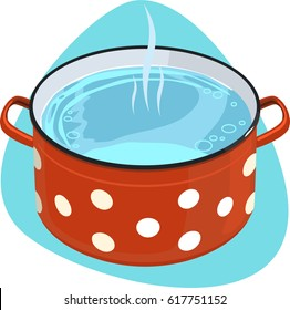 Cooking pot with polka dot ornament and clean hot water. Isolated. On blue background.