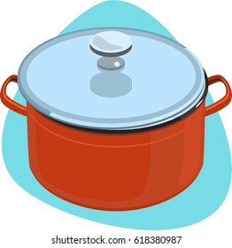 Cooking pot in red color with handles and stainless lid with knob. Isolated. On blue background.