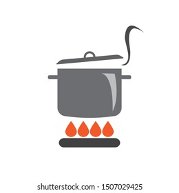 Cooking pot or saucepan on stove with fire vector icon