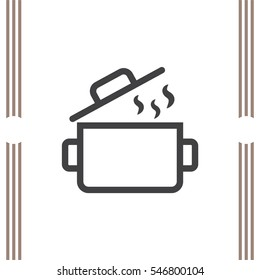 Cooking pot sign line vector icon. Kitchen equipment sign. Restaurant symbol