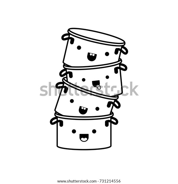 Cooking Pot Stack Monochrome Kawaii Silhouette Stock Vector