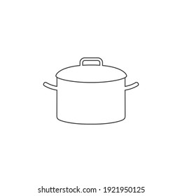 Cooking pot or stockpot stock pot flat vector line icon for cooking