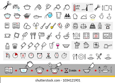 Cooking and preparation instructions. Set of sign for detailed guideline. Vector elements on a white background. Ready for your design. EPS10.