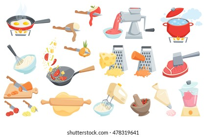 Cooking process set. Boil water, mixer or whisk whipped cream, rolling pin dough, pastry bag, smoothie in blender, grated cheese, fry in wok pan, grind in mortar, grinder meat, cut or peel vegetable.