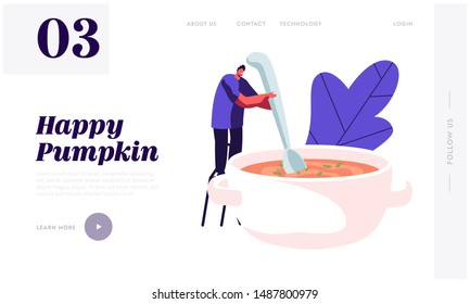 Cooking Process Website Landing Page. Tiny Male Character Mixing Pumpkin Soup with Huge Cook Prepare Tasty Dish for Thanksgiving Day Dinner. Home Food Web Page Banner. Cartoon Flat Vector Illustration