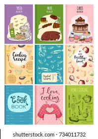 Cooking recipe books cover kitchen design cards template hand drawn culinary cookie notes with doodle kitchen utensils vector illustration.