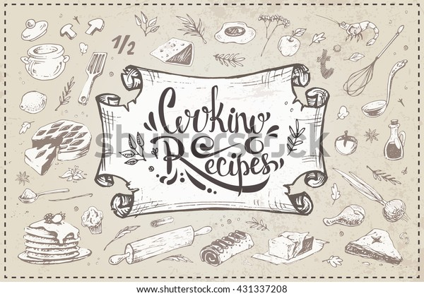 Cooking Recipes Calligraphic Inscription Handdrawn Sketch