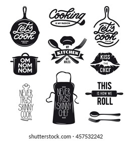 Cooking related typography set. Quotes about kitchen. Cooking wordings. Bon appetit. Never trust a skinny chef. Vintage vector illustration.
