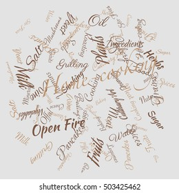 Cooking related words in random order. Tag cloud for food industry. Typographic vector illustration.