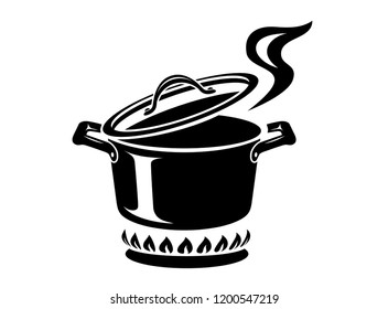 Cooking saucepan with steam icon. Logo in simple style with kitchen process. Tasty smell from stove of chief. Warm comfort and tasty food. Vector illustration of first course from haute kitchen star.