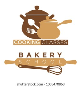 Cooking school and bakery chef masterclass vector icons of cook kitchen kitchenware utensils