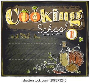 Cooking school chalkboard design with place for text. Eps10