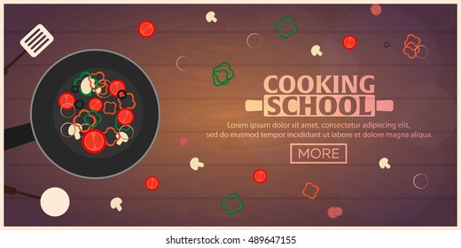 Cooking school, courses. Culinary class vector illustration