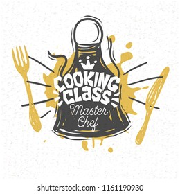 Cooking school, culinary classes, studio, logo, utensils, apron, fork, knife, master chef. Lettering, calligraphy logo, sketch style, welcome. Hand drawn vector illustration.