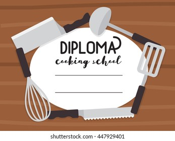 Cooking school diploma. Culinary class certificate. Vector template