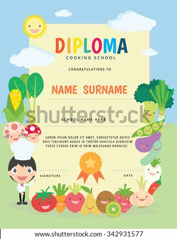 cooking school kids diploma certificate のベクター画像素材