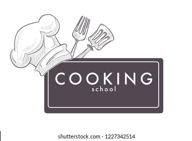 Cooking school monochrome sketch outline chefs hat cap vector. Isolated logotype of headwear and cutlery, spatula and fork, cooks tools and text. Tasty traditional food preparation of restaurant