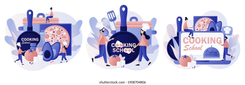 Cooking school - text on kitchen frying pan. Culinary master class online. Tiny chef in hat with kitchen tools and foods. Modern flat cartoon style. Vector illustration on white background