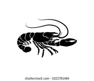 Cooking Seafood Black Lobster for Restaurant Illustration Symbol Logo Vector